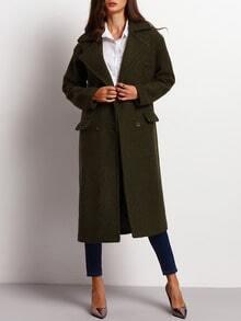 Manteau vert kaki manches longues col à revers