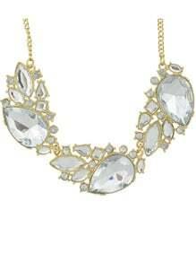 White Gemstone Gold Chain Necklace