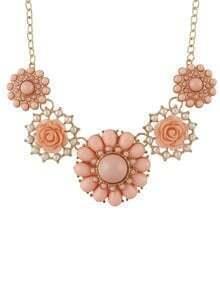 Pink Gemstone Flower Necklace