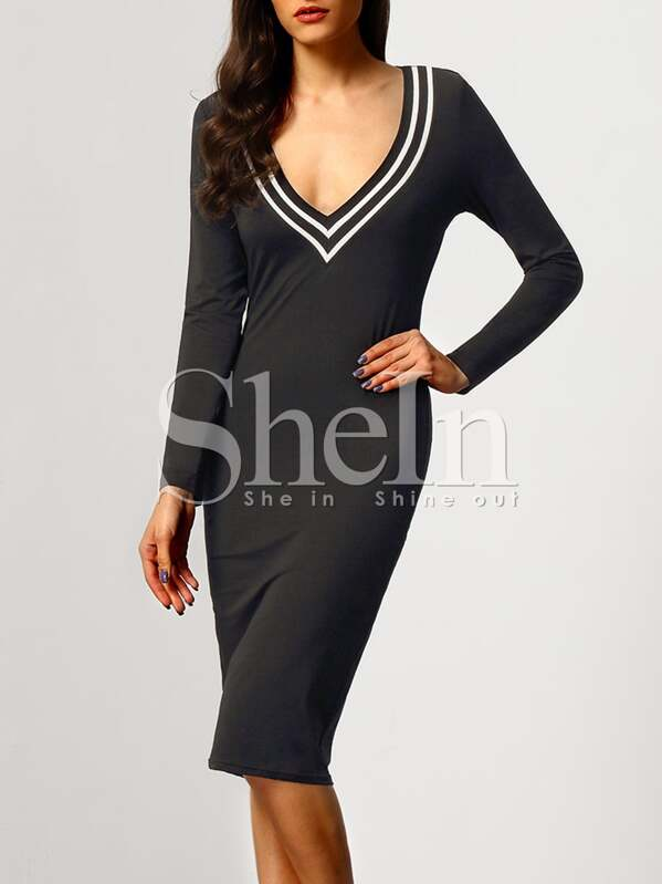 Robe col V manches longues -noir-French SheIn(Sheinside) fa558c710e42