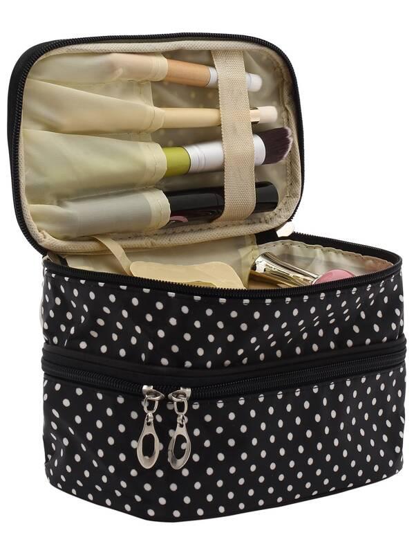 873bcf80286f Black Polka Dot Double Layers Cosmetic Bag -SheIn(Sheinside)