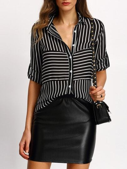 Black Striped Buttons Blouse