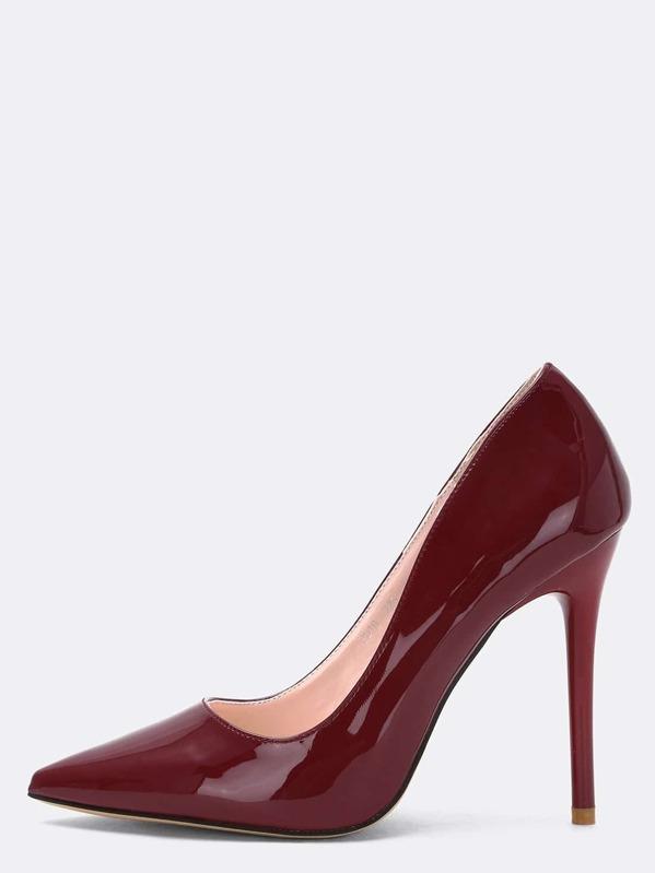 a8704eb0b91d Escarpin vernis bout pointu -rouge bordeaux | SHEIN