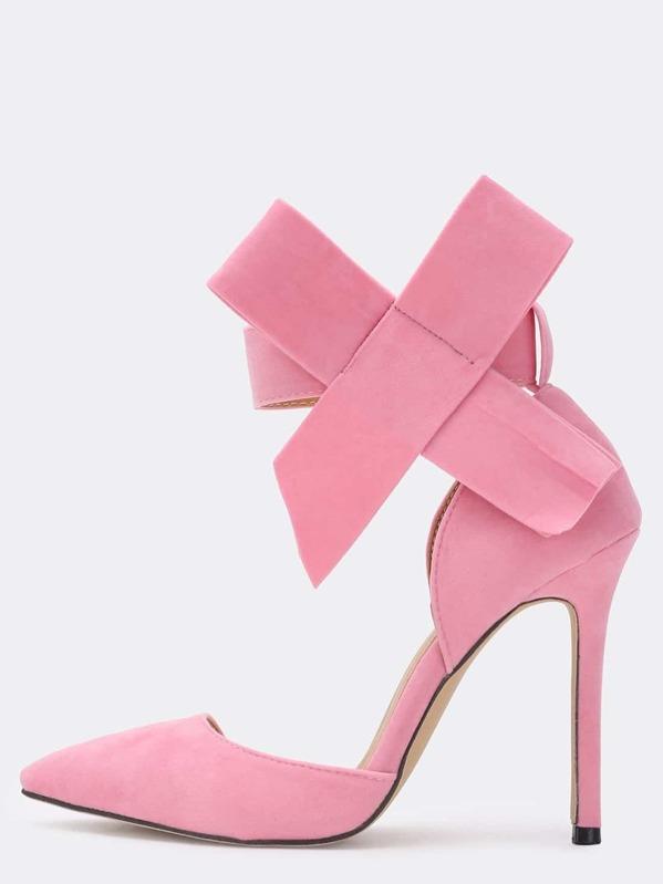 487a9606fe4 Pink With Bow Slingbacks High Heeled Pumps