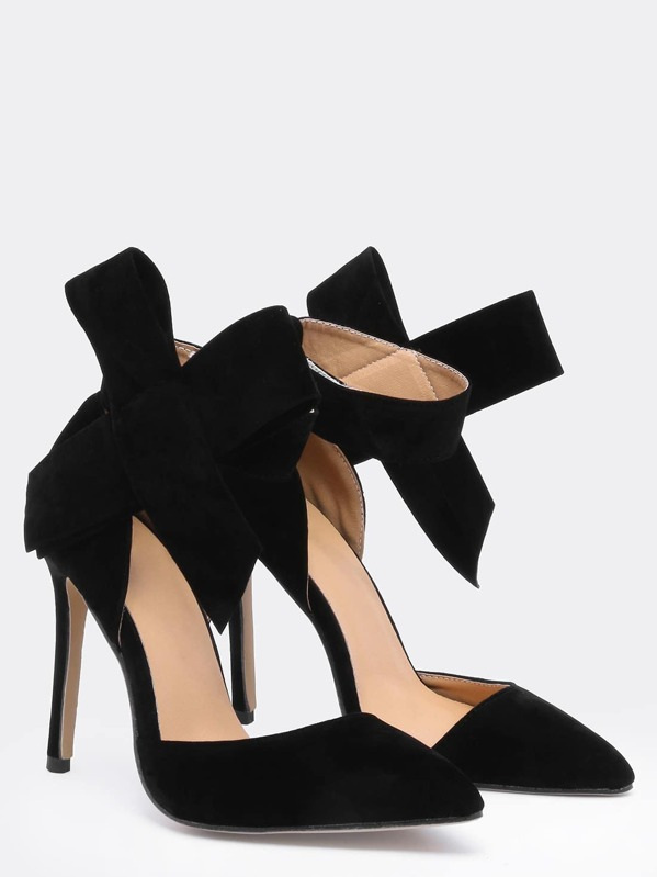 a8a392718e9 Black With Bow Slingbacks High Heeled Pumps