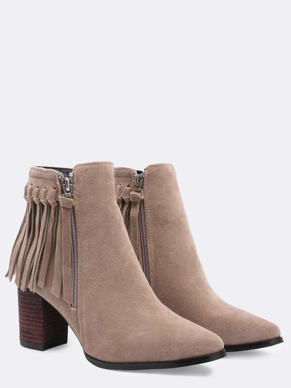 90fabc39ad Apricot Chunky Heel Tassel Zipper Boots | SHEIN