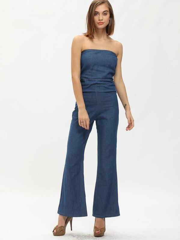 c3616587fc4 Strapless Pockets Wide Leg Denim Jumpsuit