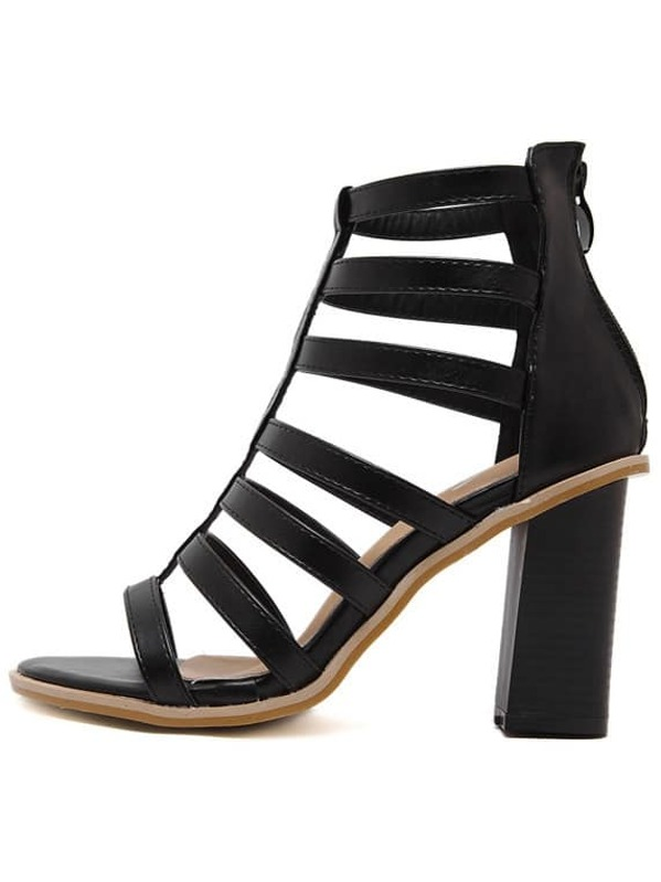 0fc24fd1785 Black Fish Mouth Chunky Gladiator Sandals