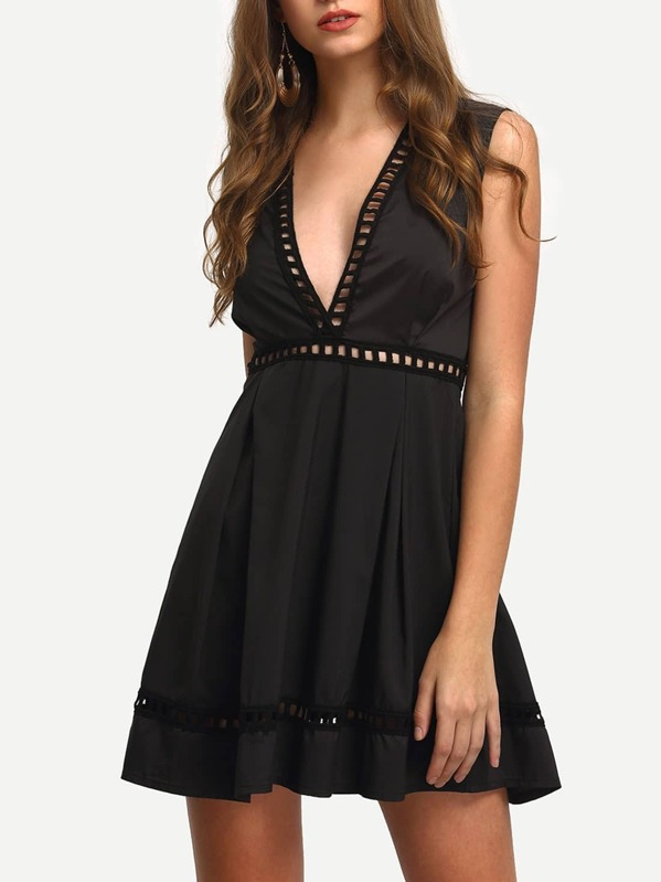 Black Deep V Neck Sleeveless Hollow Dress Sheinsheinside