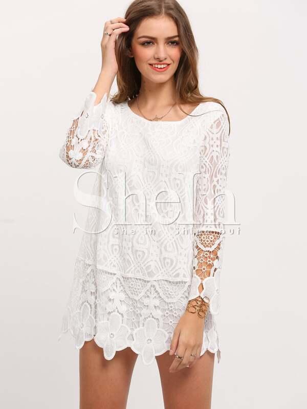 Vestido manga larga crochet encaje -blanco-Spanish SheIn(Sheinside)