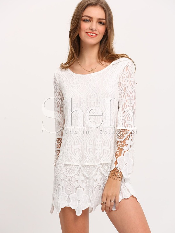 Long Sleeve Crochet Lace Dress Shein