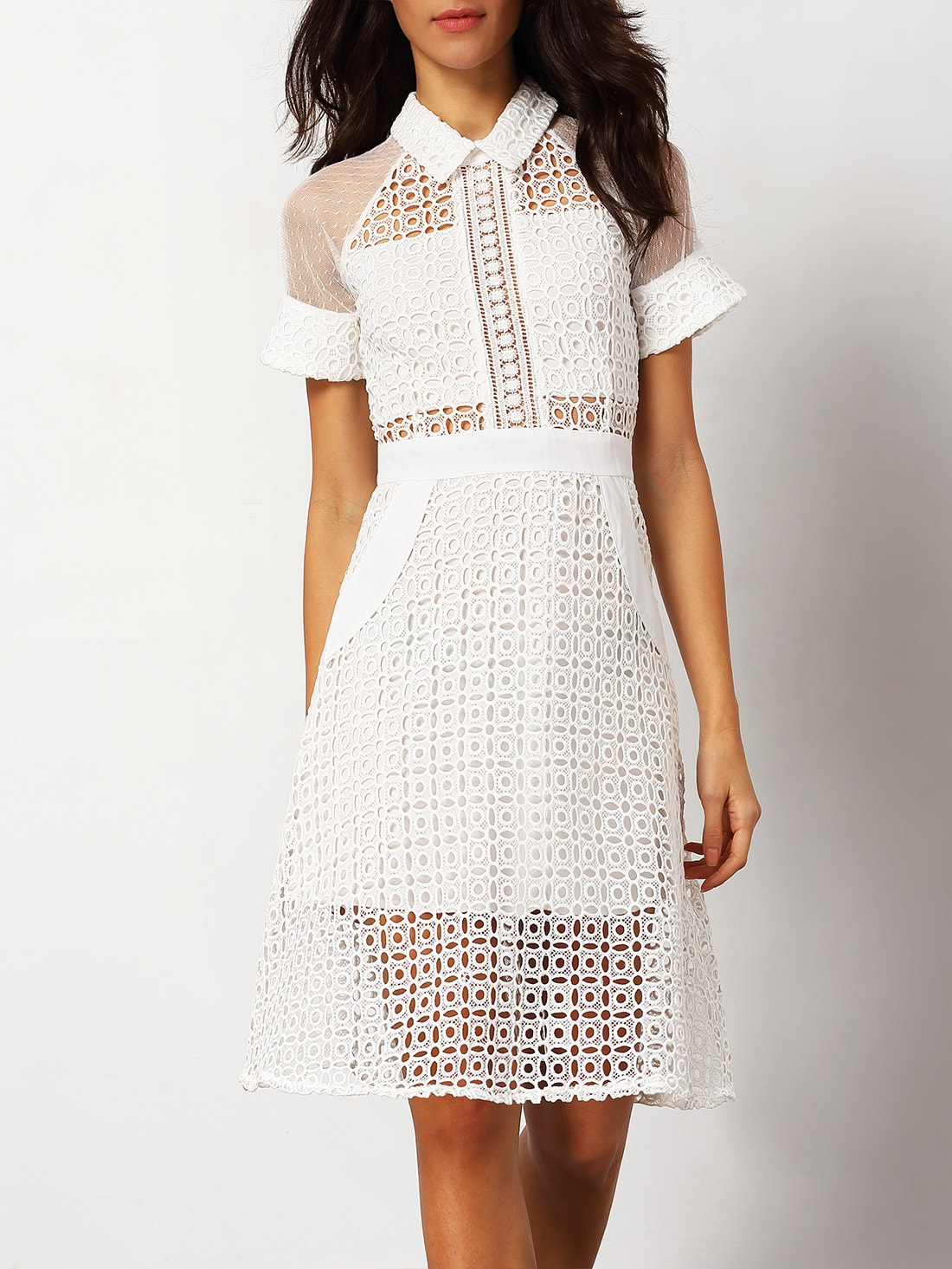 White Short Sleeve Hollow Sheer Dress -SheIn(Sheinside)