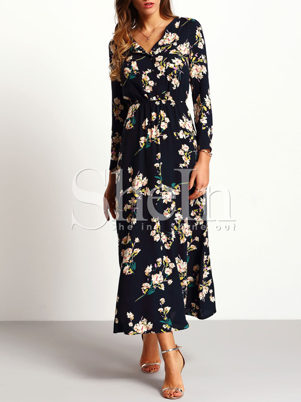 Vestido manga larga flores