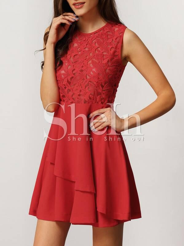 ca58169ee Vestido con cremallera encaje inserto -rojo