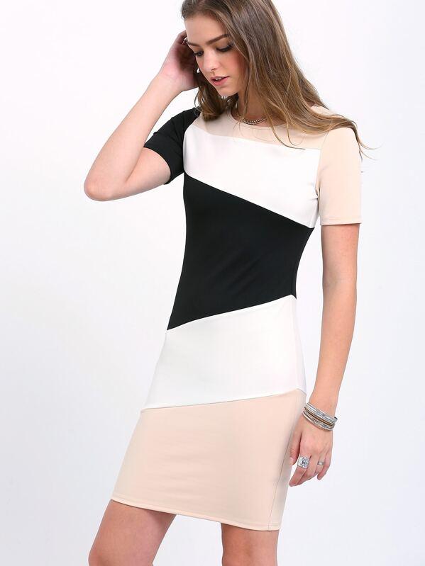 f3ffd5a0 White Color Block Sheath Dress | SHEIN