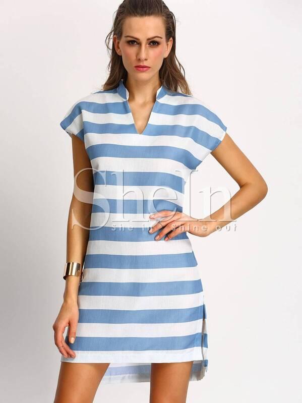 b1922a6df White Blue Short Sleeve V Neck Striped Dress | SHEIN