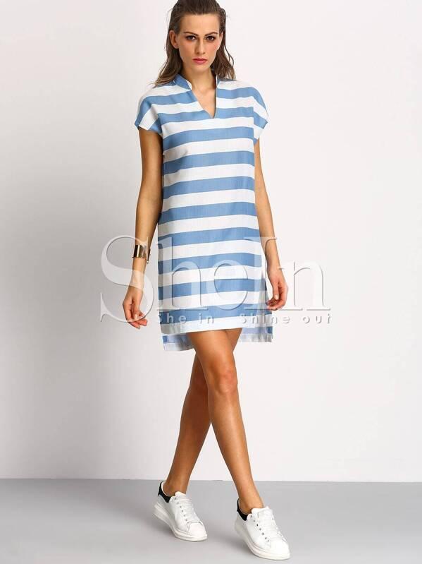 bc5d411d52 White Blue Short Sleeve V Neck Striped Dress -SheIn(Sheinside)