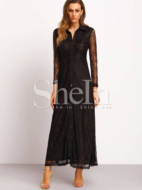 6f89c24a5f Cheap Black Long Sleeve Lapel With Lace Split Maxi Dress for sale Australia  | SHEIN
