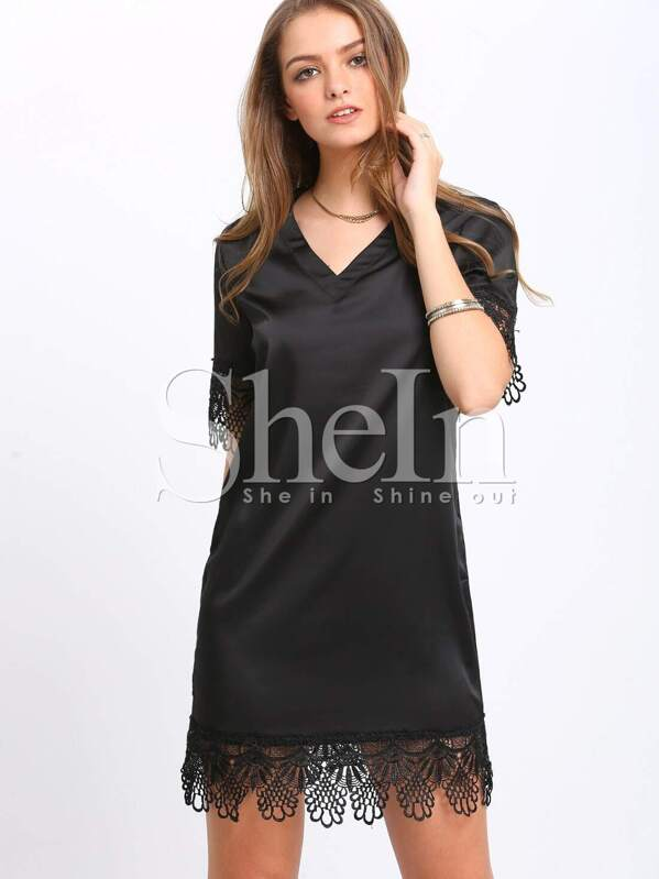 88535b3a13 Black Lbd V Neck Elbow Sleeve With Lace Dress | SHEIN UK