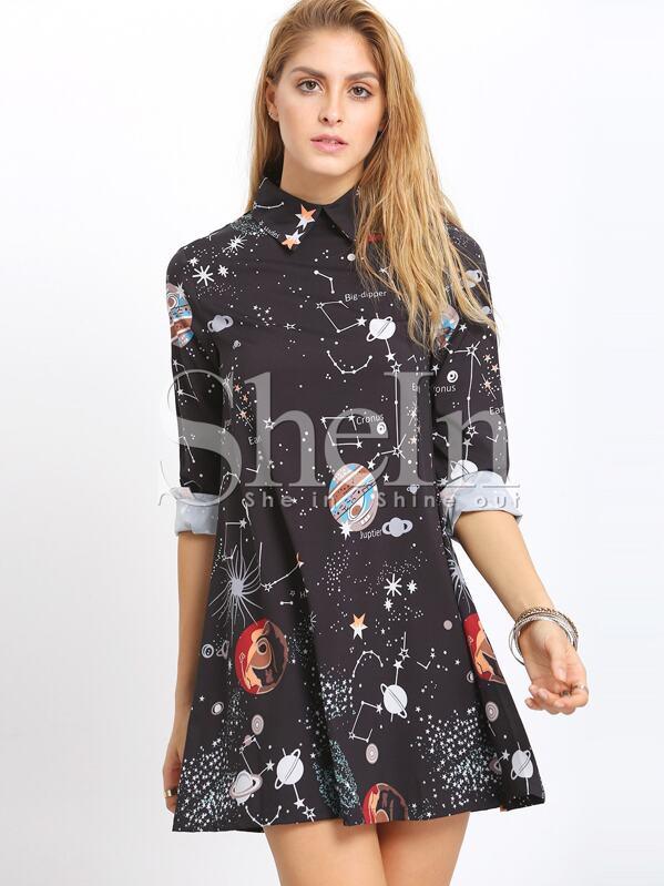 3164e8813c Black Planet Print Shift Dress | SHEIN