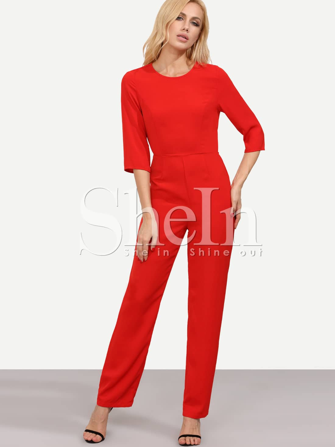 Red Long Sleeve Backless Jumpsuit -SheIn(Sheinside)