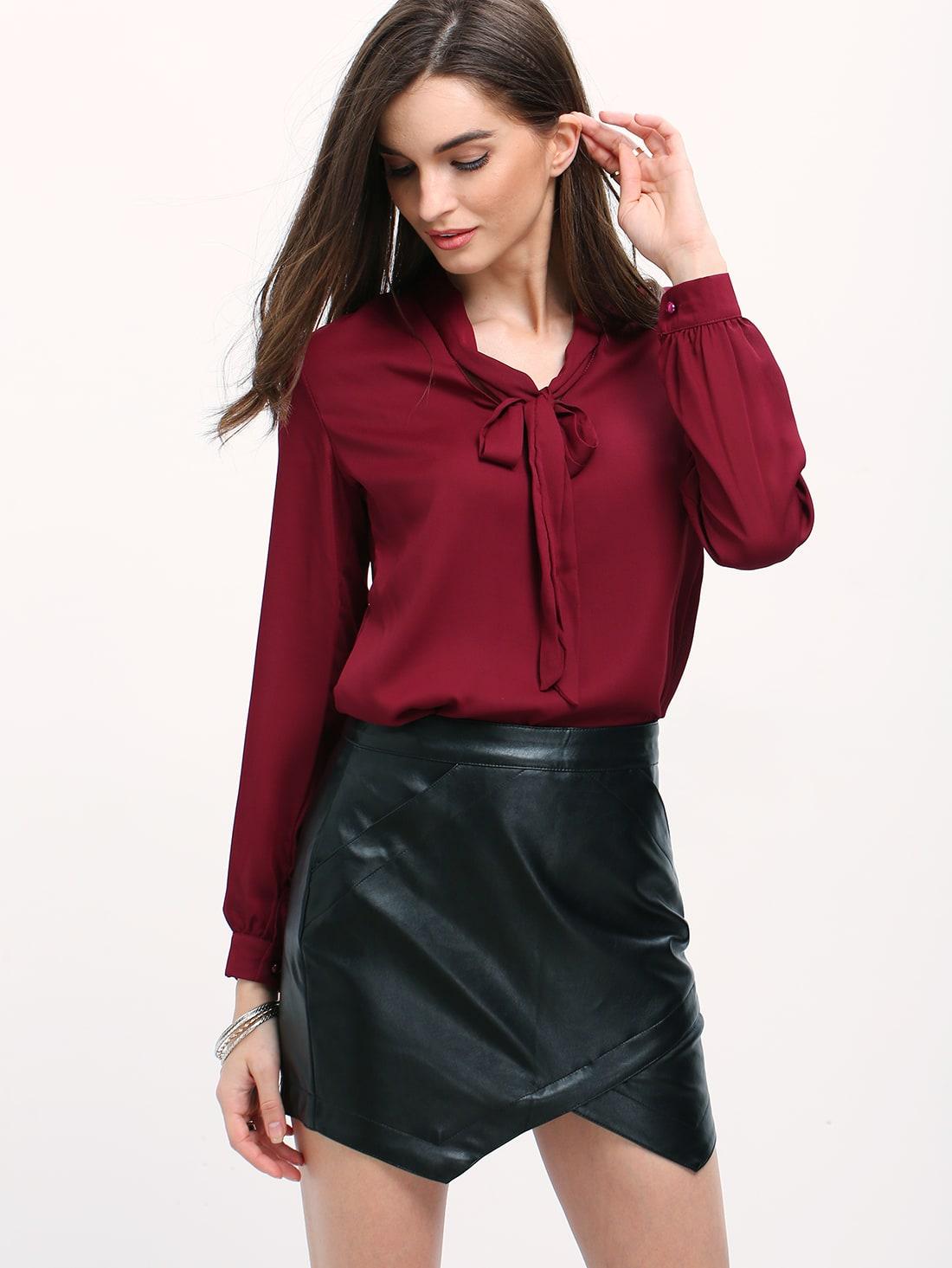 Burgundy Long Sleeve Blouse 50