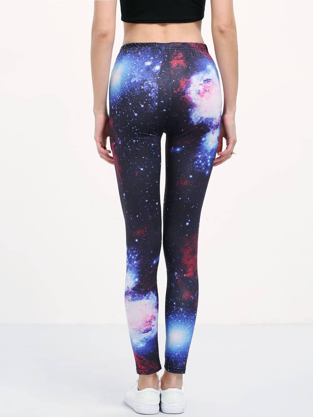 Galaxy Print Slim Leggings -SheIn(Sheinside)