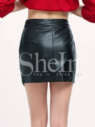 Black Asymmetrical PU Leather Skirt -SheIn(Sheinside)