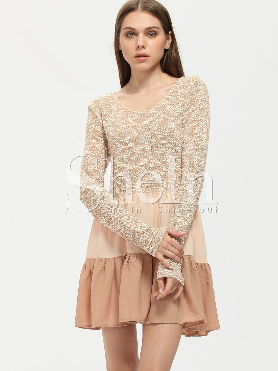 apricot sleeve color block ruffle dress shein sheinside