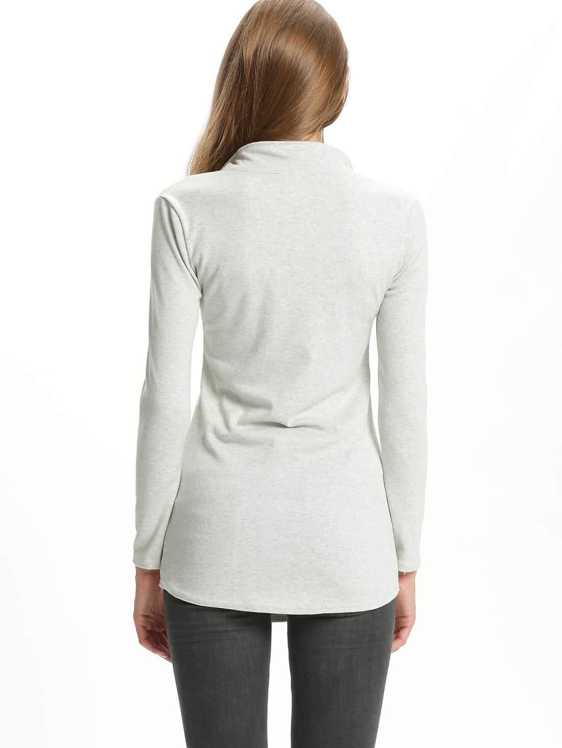 Grey long sleeve zipper pockets t shirt shein sheinside for Travel shirts with zipper pockets