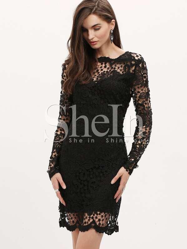 fc274266ac6a0 فستان ضيق دانتيل أسود كم طويل