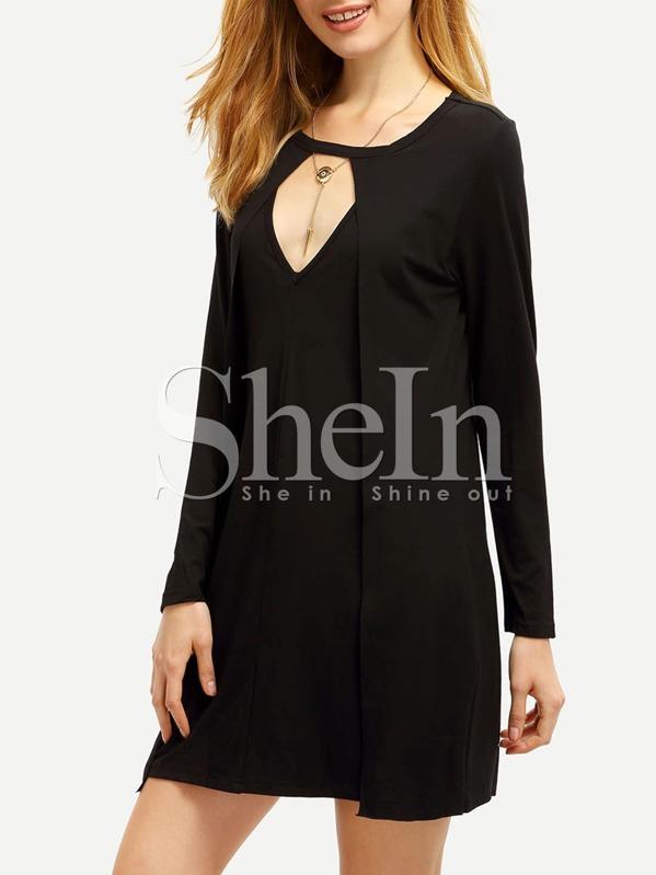 Black Concert Long Sleeve Cut Out Dress Sheinsheinside