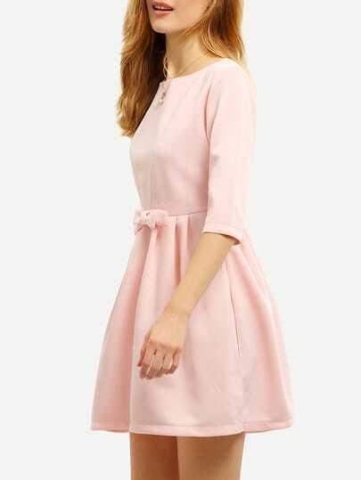 Pink Bow Half Sleeve Dress -SheIn(Sheinside)