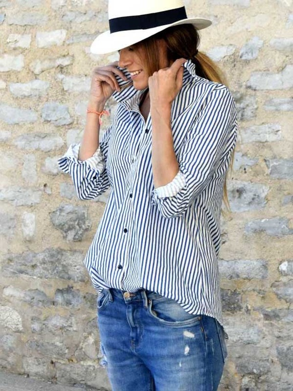 46d8c724c1 Lapel Vertical Striped Blouse | SHEIN