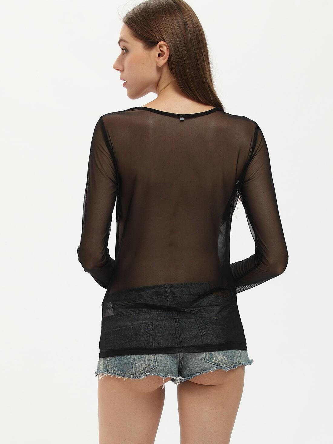 Long Sleeve Sheer Black Blouse 89