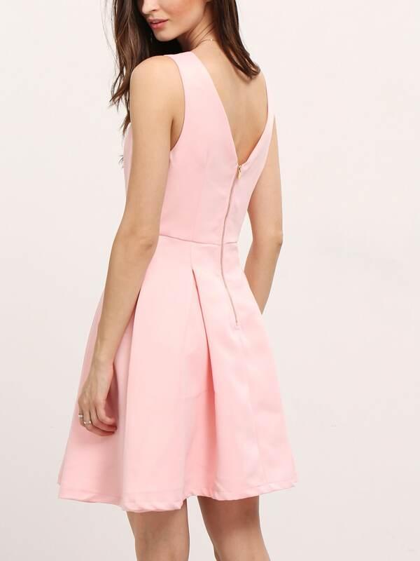 Vestido sin manga con vuelo -rosa-Spanish SheIn(Sheinside)