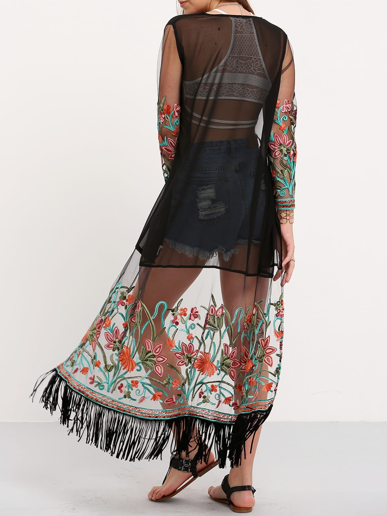 Transparent embroidered fringe long kimono shein sheinside