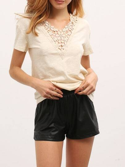 White Crochet V Neck Short Sleeve T-shirt