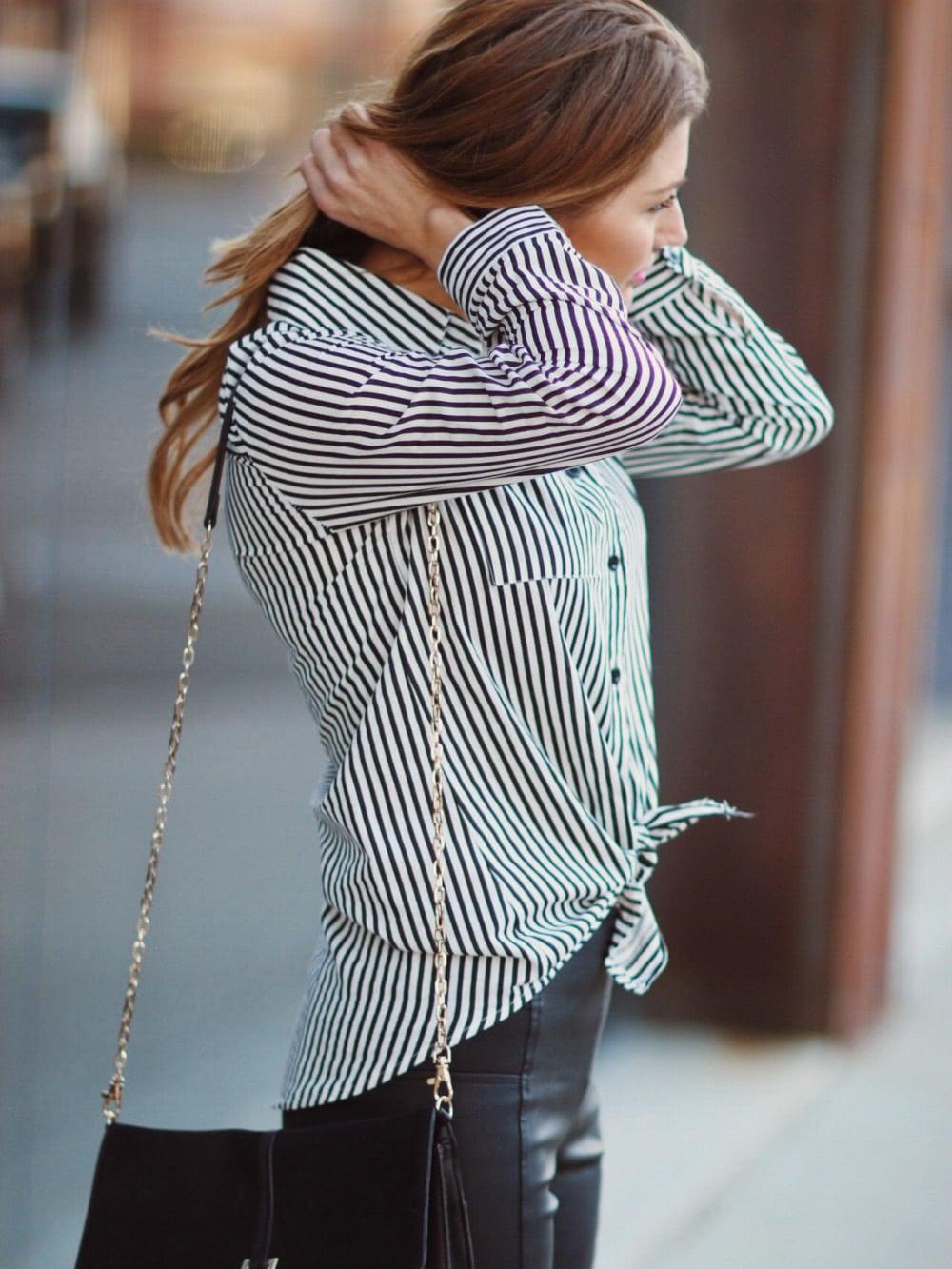 Black Lapel Vertical Striped Blouse