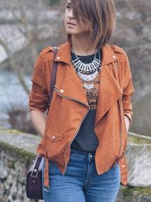 Moto Zip Jacket With Buckle Belt Hem