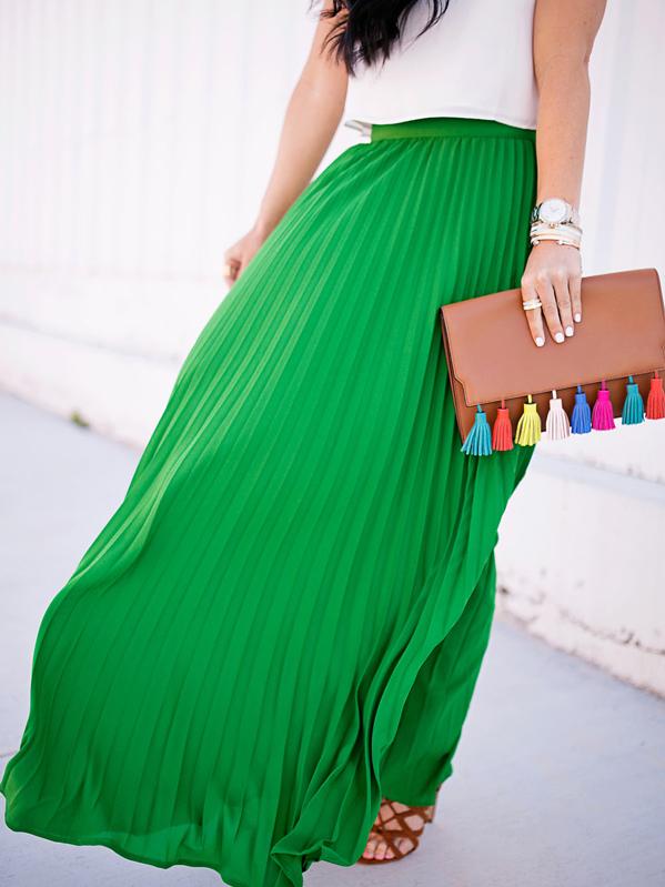 0032b2e2cd High Waist Pleated Longline Skirt | SHEIN