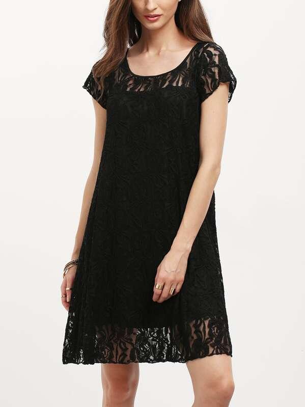 fea60038b252d Black Cap Sleeve Sheer Lace Yoke Shift Dress | SHEIN