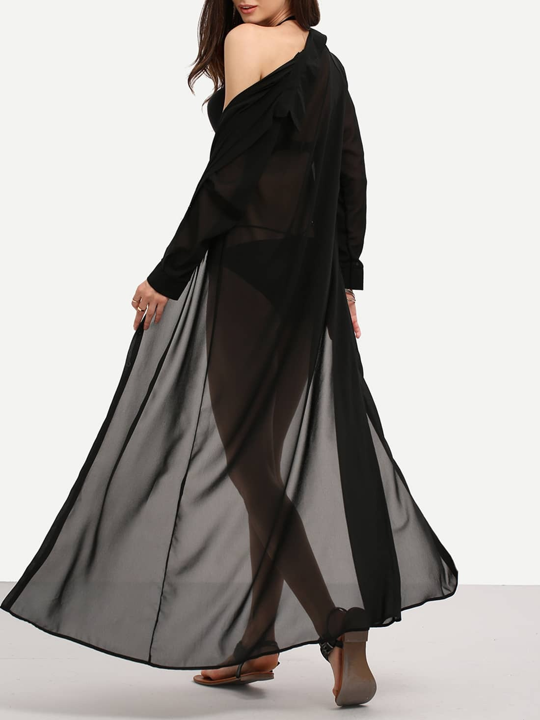 Maxi chiffon shirt dress - Dressed for less