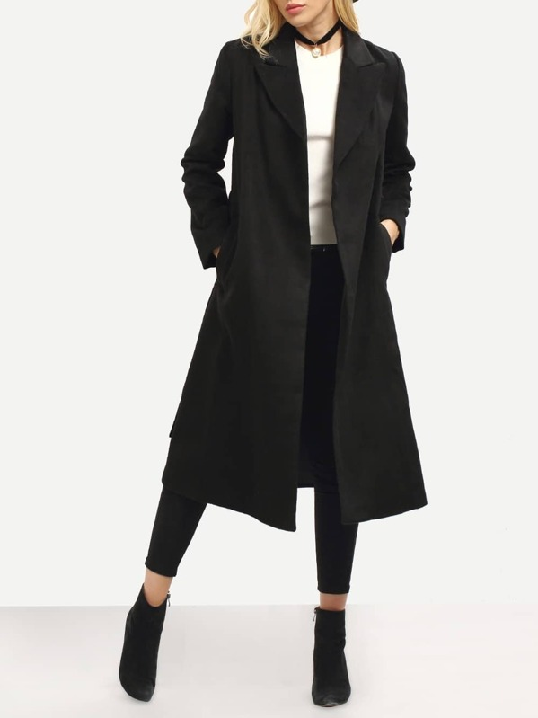 finest selection 08944 de74b langer Mantel mit Gürtel, schwarz