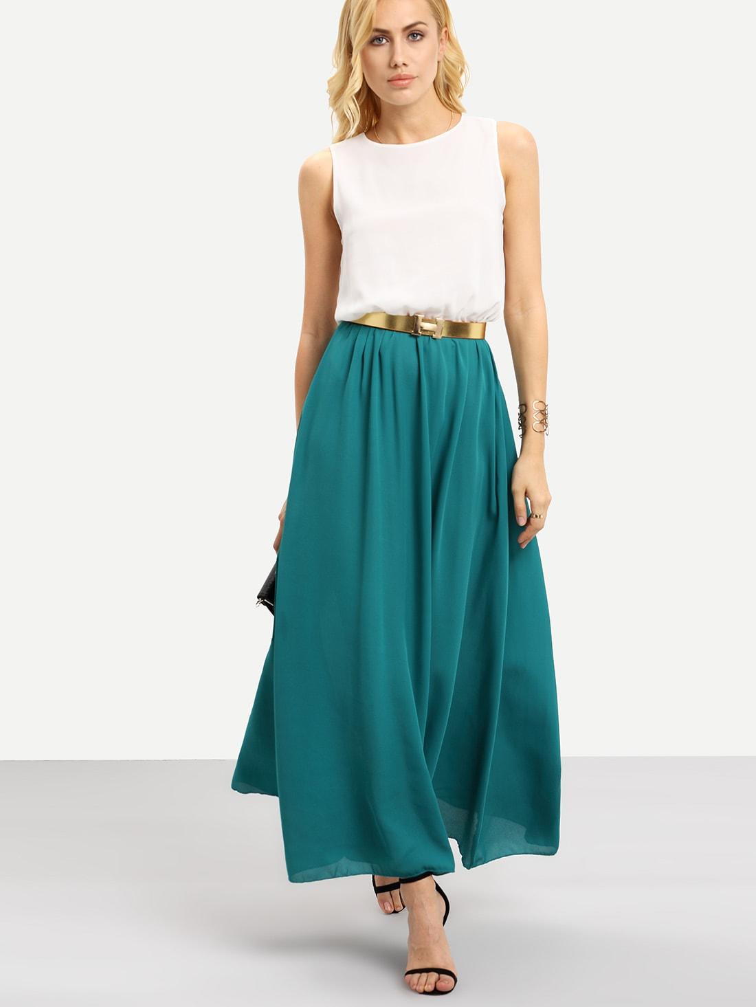 Color Block Belted Flowy Chiffon Maxi Dress Shein