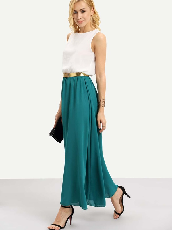f73b796592ca Cheap Color Block Floaty Chiffon Teal Maxi Dress With Belt for sale ...