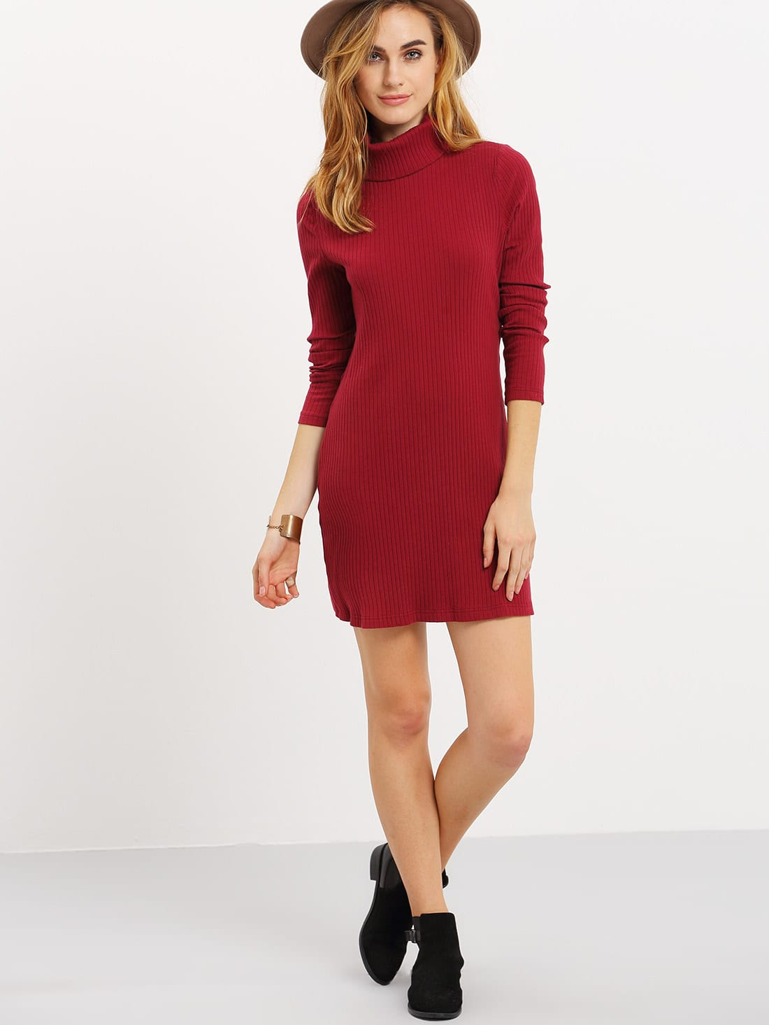 Burgundy Long Sleeve High Neck Dress