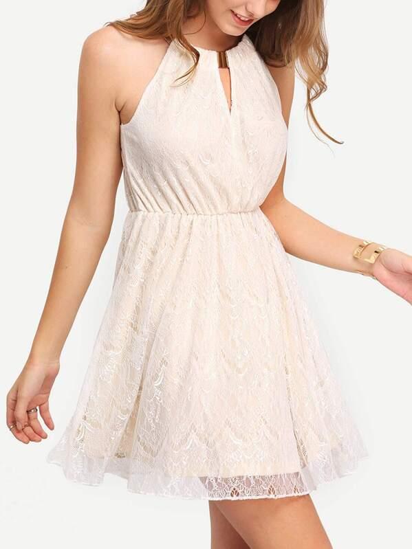 robe blanc cassé avec dentelle -French SheIn(Sheinside) d36e1a22833e