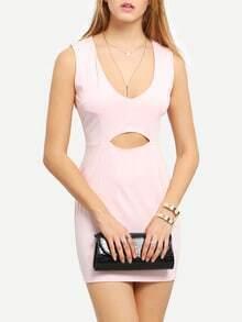 Pink Deep Plunge Neck Cut Out Bodycon Dress  3d4eb06d9
