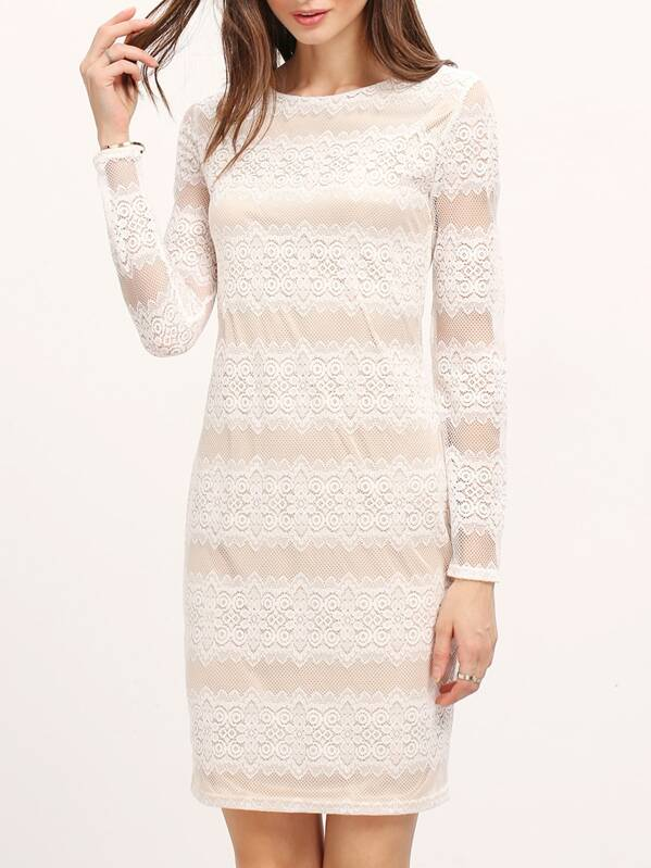 31d6c421d7 White Long Sleeve Lace Bodycon Dress | SHEIN IN